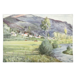 French Mountain Watercolor Cloth Placemat