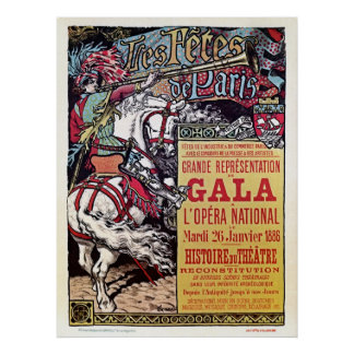 French National Opera medieval style vintage gala Poster