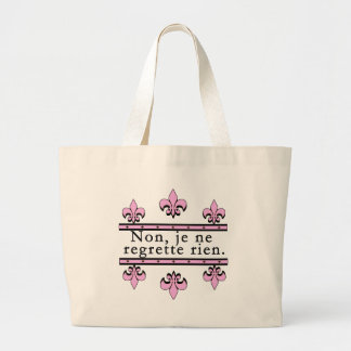 French No Regrets Products Large Tote Bag