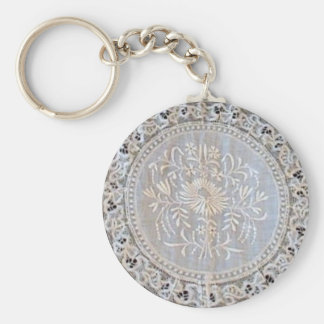 French Normandy Lace Whitework Round Basic Round Button Keychain