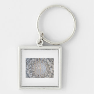 French Normandy Lace Whitework Round Keychain