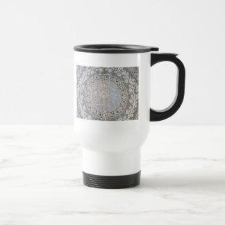 French Normandy Lace Whitework Round Travel Mug