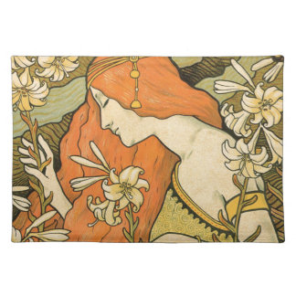 French Nouveau Pinup Girl in Field of Honeysuckles Cloth Placemat