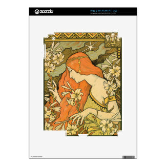 French Nouveau Pinup Girl in Field of Honeysuckles iPad 2 Skin