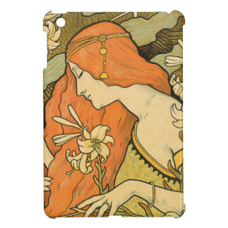 French Nouveau Pinup Girl in Field of Honeysuckles iPad Mini Covers