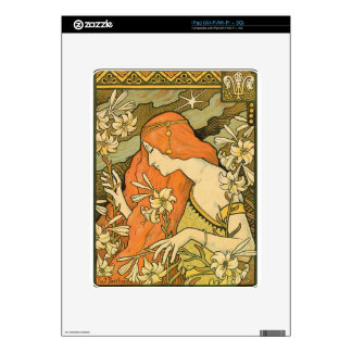 French Nouveau Pinup Girl in Field of Honeysuckles iPad Skins