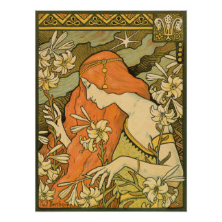 French Nouveau Pinup Girl in Field of Honeysuckles Poster