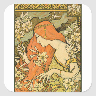 French Nouveau Pinup Girl in Field of Honeysuckles Square Sticker