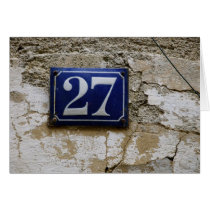 French Number 27 on Old Antique Wall Card