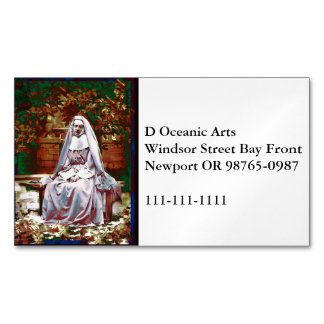 French Nun in the Garden of Contemplation Business Card Magnet