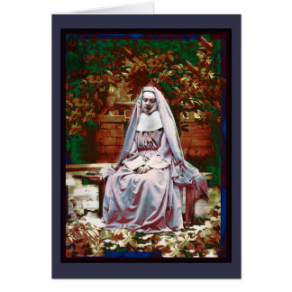 French Nun in the Garden of Contemplation Card