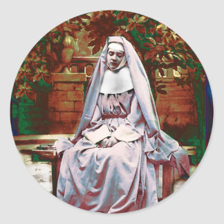 French Nun in the Garden of Contemplation Classic Round Sticker