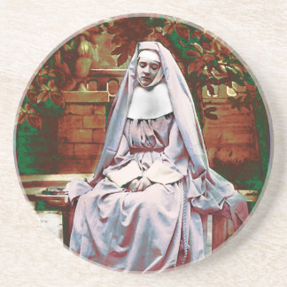 French Nun in the Garden of Contemplation Coaster