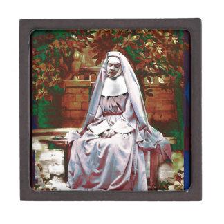 French Nun in the Garden of Contemplation Keepsake Box