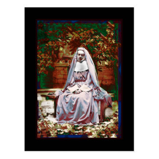 French Nun in the Garden of Contemplation Postcard