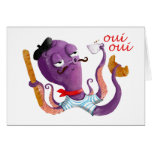 French Octopus Greeting Card