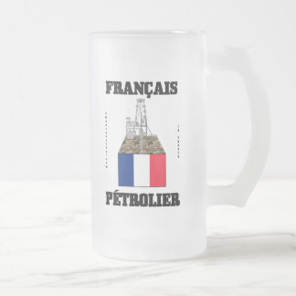 French Oilman,Glass Beer Mug,Oil,Gas,Rigs Frosted Glass Beer Mug