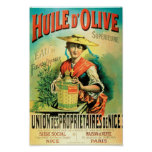 French olive oil retro advertisement poster