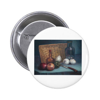 French Onion Basket and Vase Still Life 2 Inch Round Button