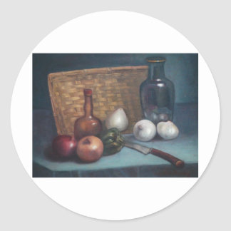 French Onion Basket and Vase Still Life Classic Round Sticker