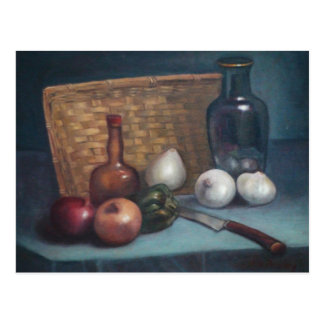 French Onion Basket and Vase Still Life Postcard