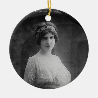 French Opera Singer Marguerite Beriza Portrait Double-Sided Ceramic Round Christmas Ornament