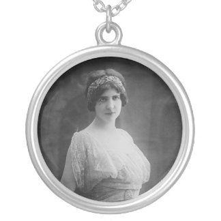 French Opera Singer Marguerite Beriza Portrait Silver Plated Necklace