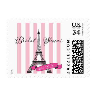 French Paris bridal shower pink Postage