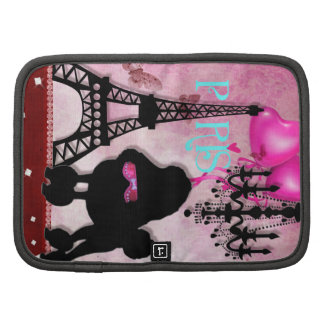 French Paris Girly Chic Poodle Eiffel Tower Damask Folio Planners