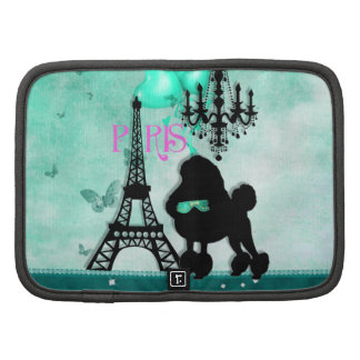 French Paris Girly Poodle Eiffel Tower Teal Damask Planners