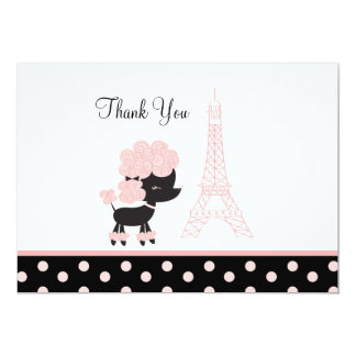 French Paris Pink Poodle Flat Card Thank you note