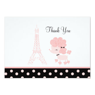 French Paris Pink Poodle Flat Card Thank you note Custom Invites