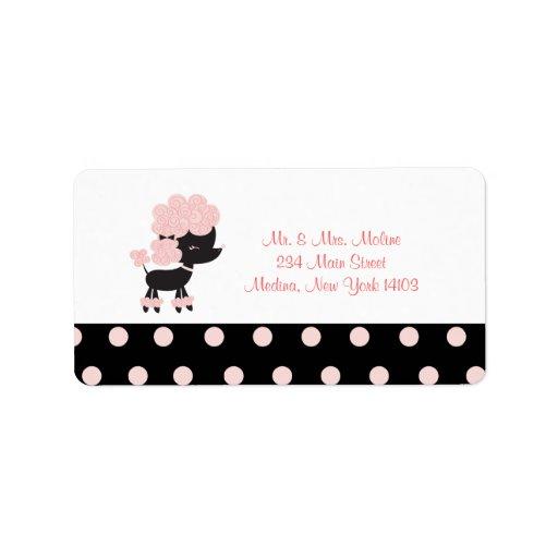 French Paris Poodle Return Label - Black/Pink Address Label