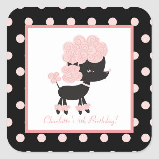 French Paris Poodle Square Envelope Seals (20) Square Sticker