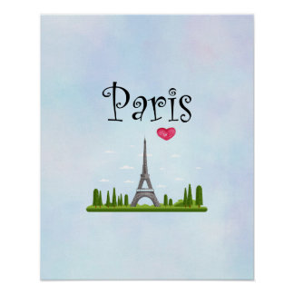 French Paris with Eiffel Tower Poster