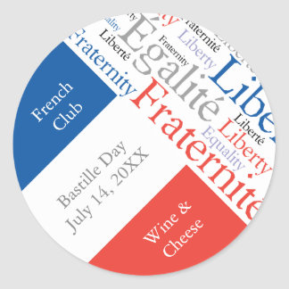 French Party or Event with Flag of France Classic Round Sticker