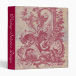 French Patina Vintage Red Toile Pompei Colors 3 Ring Binder