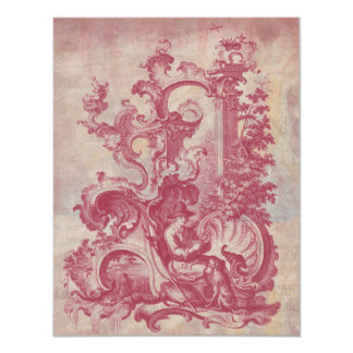 French Patina Vintage Red Toile Pompei Colors Custom Invitations