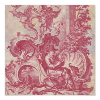 French Patina Vintage Red Toile Pompei Colors Custom Invites