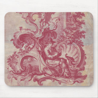 French Patina Vintage Red Toile Pompei Colors Mouse Pad
