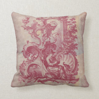 French Patina Vintage Red Toile Pompei Colors Pillow