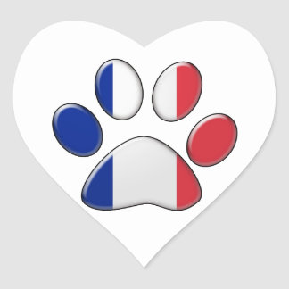 French patriotic cat heart sticker