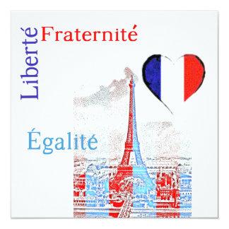 French patriotic 5.25x5.25 square paper invitation card