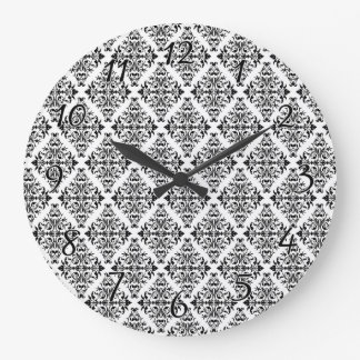 French Pattern in Black & White Clock
