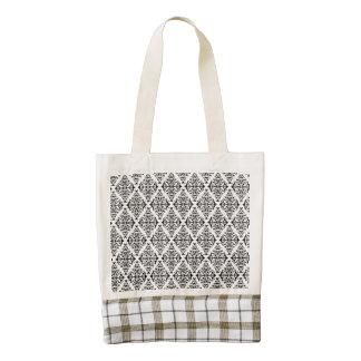 French Pattern in Black & White Zazzle HEART Tote Bag
