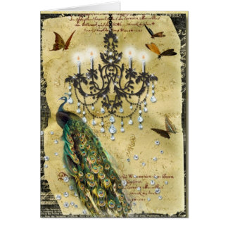 French Peacock and Chandelier Card