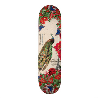 French Peacock Bird Rose Flowers Paris Skateboard
