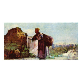 French Peasant Woman With Bags On Their Backs Photo Card