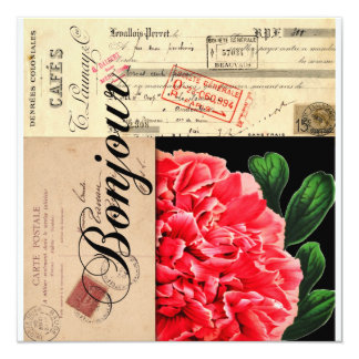 French Peony Bonjour Invitation or Card