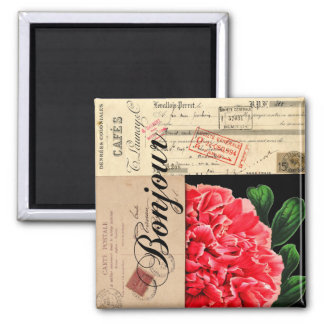 French Peony Bonjour Magnet